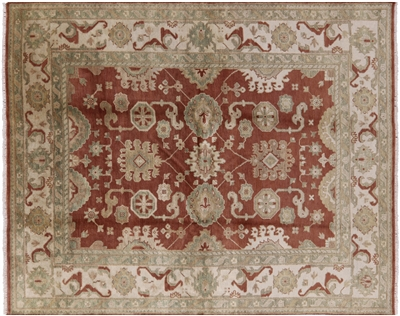 Brown Oushak Hand Knotted Area Rug