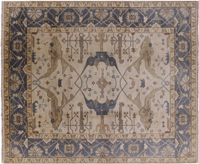 Fish Design Oushak Hand Knotted Rug