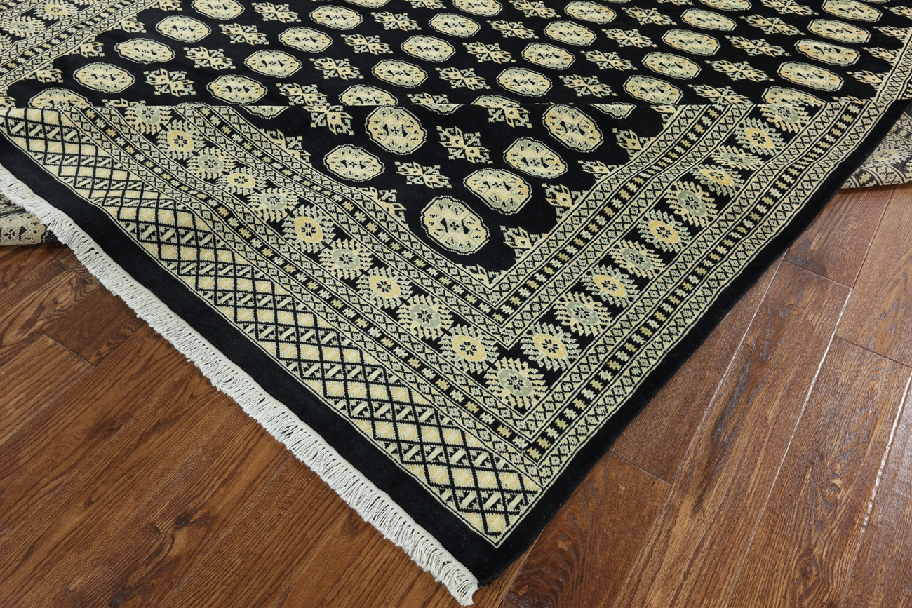 Unique Black 8 X10 Royal Bokhara Hand Knotted Oriental