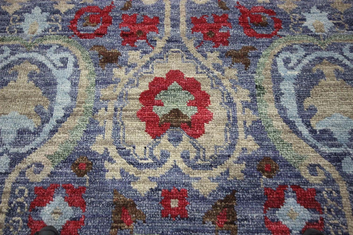 Modern Oushak Turkish Knotted 12x15 Blue Floral Hand