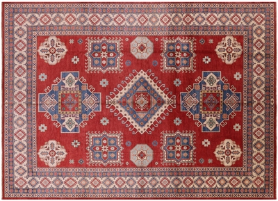 Hand Knotted Red Kazak Rug