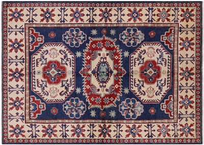 Traditional Hand Knotted Blue Kazak Rug