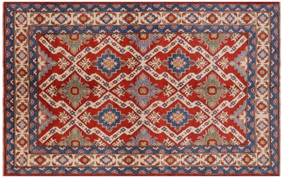 Geometric Red Kazak Hand Knotted Rug