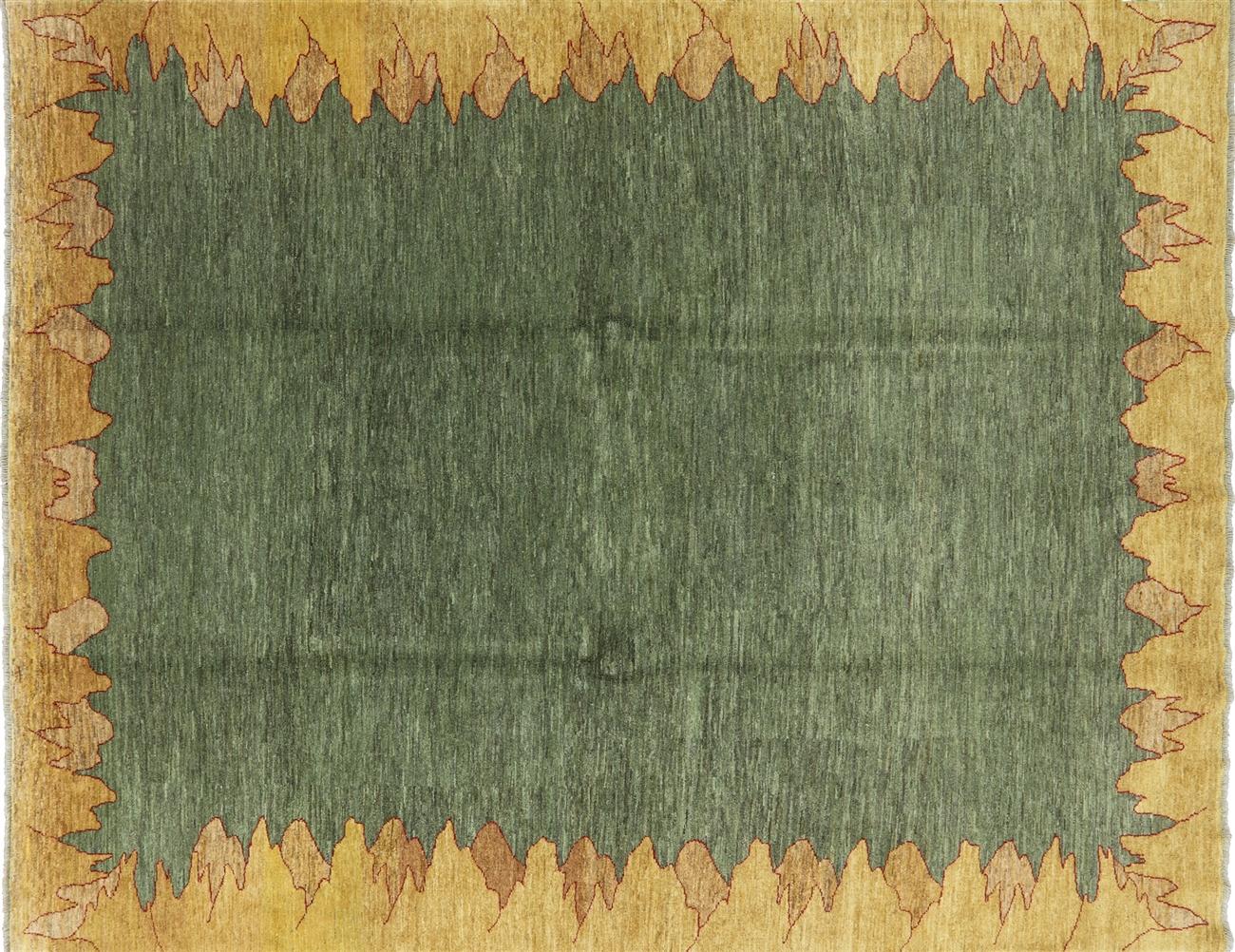 8 X 10 Green Gabbeh Wool Area Rug H8359