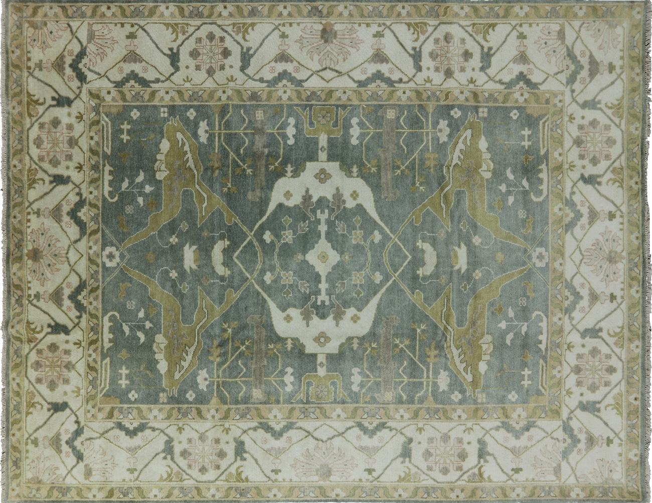 9 x 12 Blue Oushak Wool Rug H8364