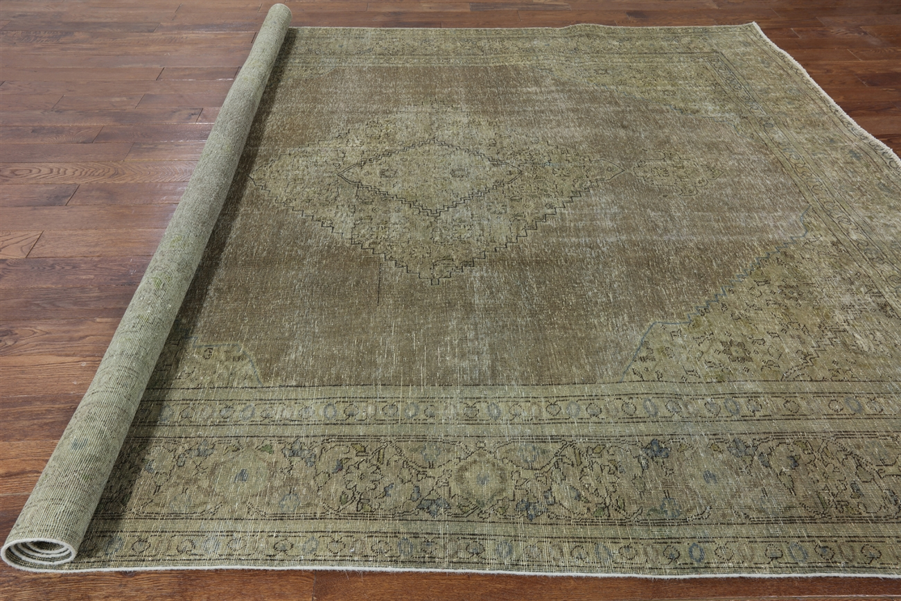 new 9'x11' oriental floral olive green overdyed hand knotted wool