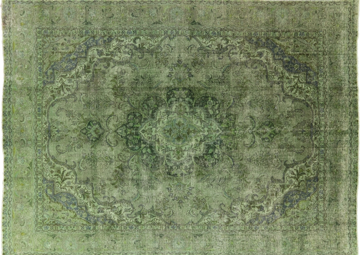 Elegant Floral 9 X13 Oriental Green Overdyed Hand Knotted