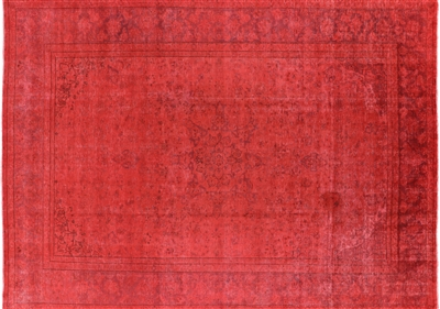 Red Overdyed Hand Knotted Wool Rug