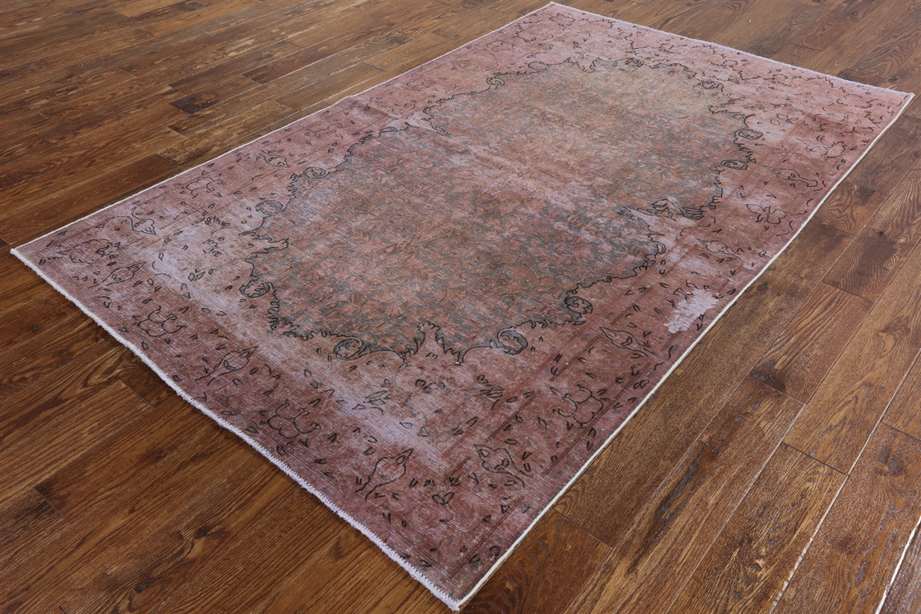 New 5 X8 Blue C Pink Overdyed Oriental Hand Knotted Wool Area Rug H8701