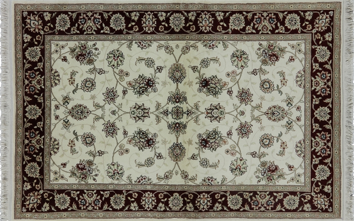 4 X6 Ivory Herati Design Floral Tabriz Hand Knotted Wool
