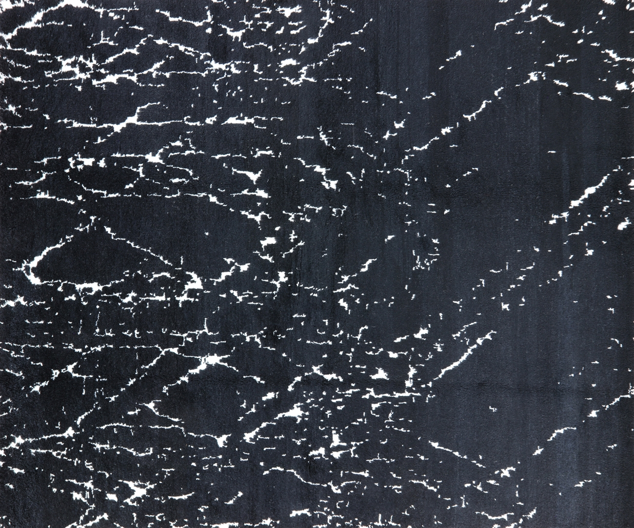 Unique Splatter Design Black 9u0027x10u0027 Moroccan Hand Knotted Wool Area Rug  H8858