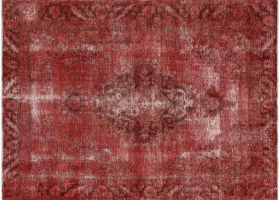 Overdyed Floral Oriental Hand Knotted Rug
