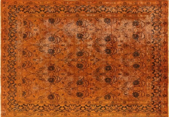 Orange Overdyed Oriental Hand Knotted Rug