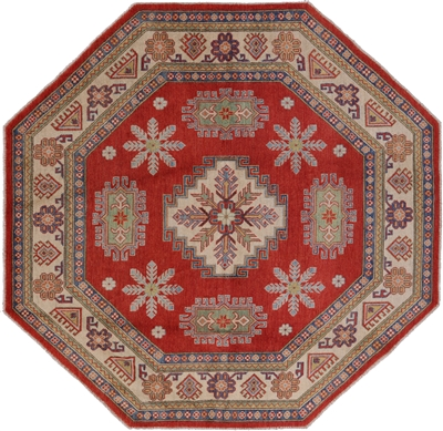 New 8u0027x8u0027 Octagon Red Super Kazak Geometric Hand Knotted Wool Area Rug H8923