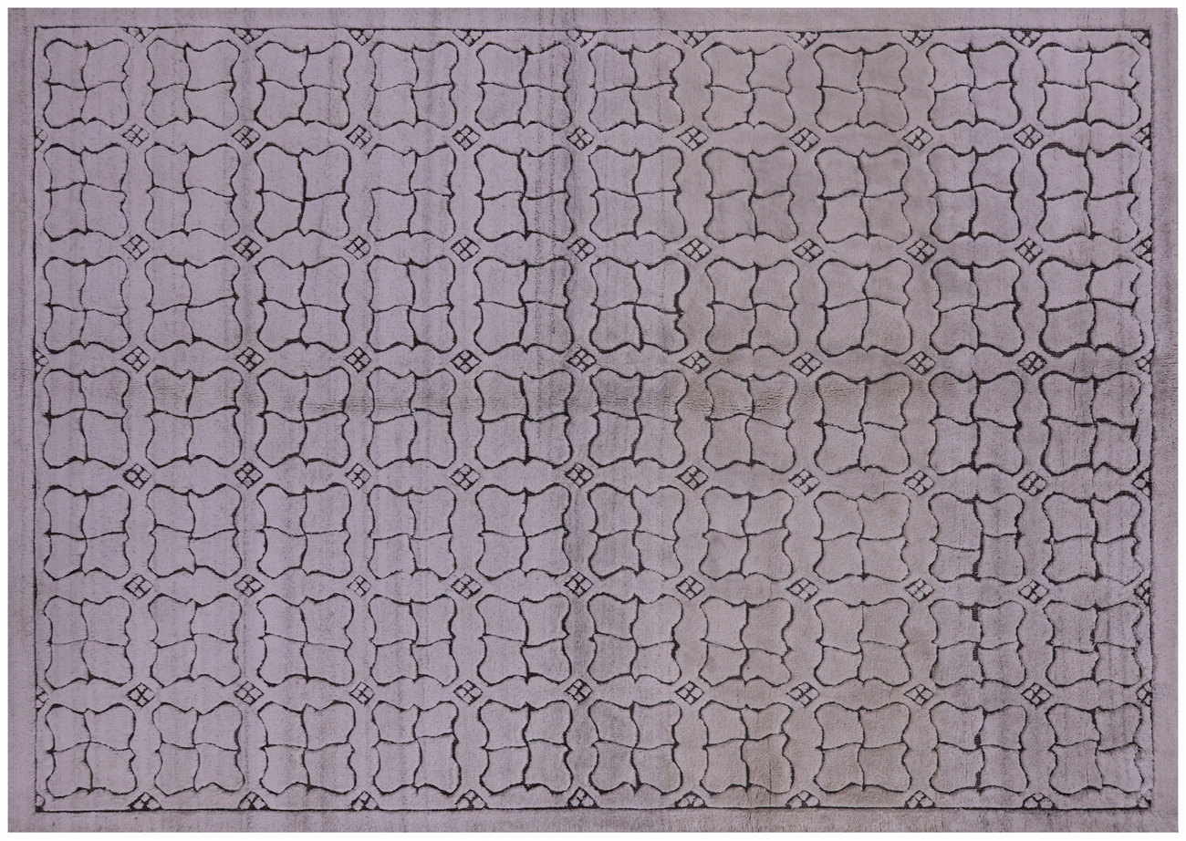 Handmade Moroccan 6x9 Brocade Weave Hand Knotted Ivory Wool Rug H8962