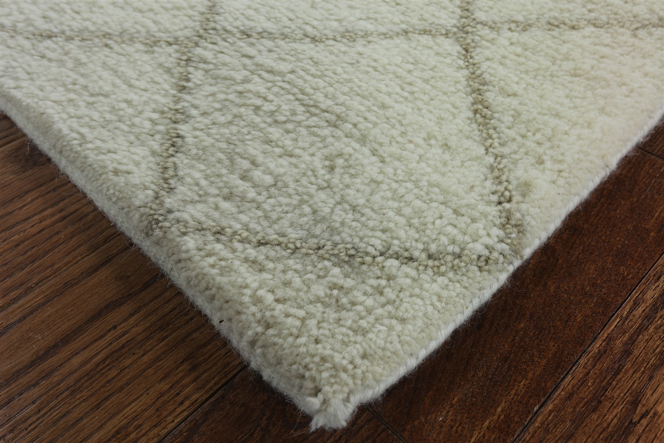 Traditional Hand Knotted Moroccan 9x12 Cream Ivory Oriental Wool Area Rug H8965