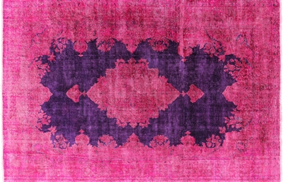 Pink/Purple Overdyed Hand Knotted Oriental Wool Rug