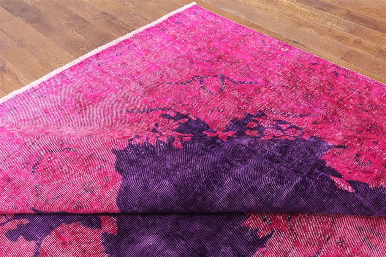 Unique Pink Purple Overdyed 9 X14 Hand Knotted Oriental
