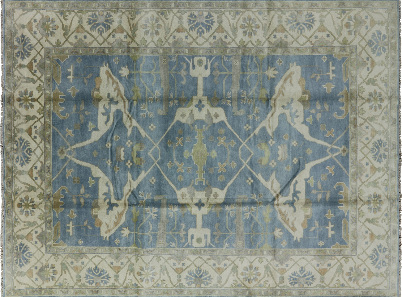 Oriental Oushak Hand Knotted Blue/Ivory Border 9x12 Fish Design Wool Rug  H8971
