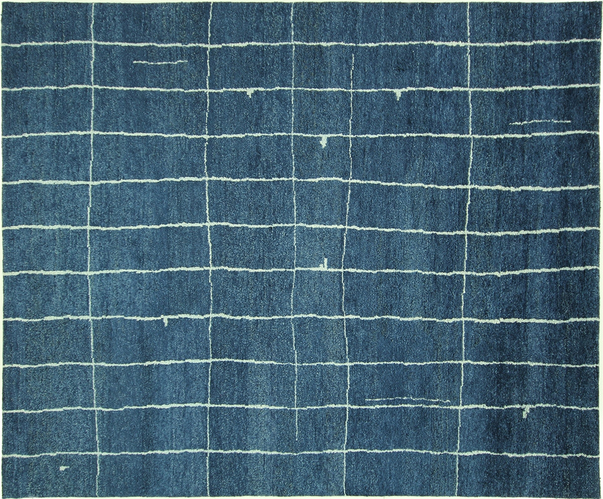 Blue Moroccan Hand Knotted Area Rug