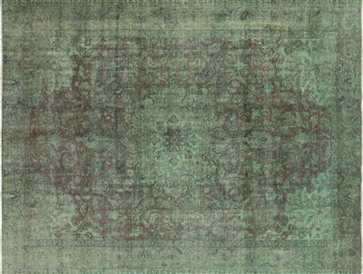 Hand Knotted Green Overdyed Rug