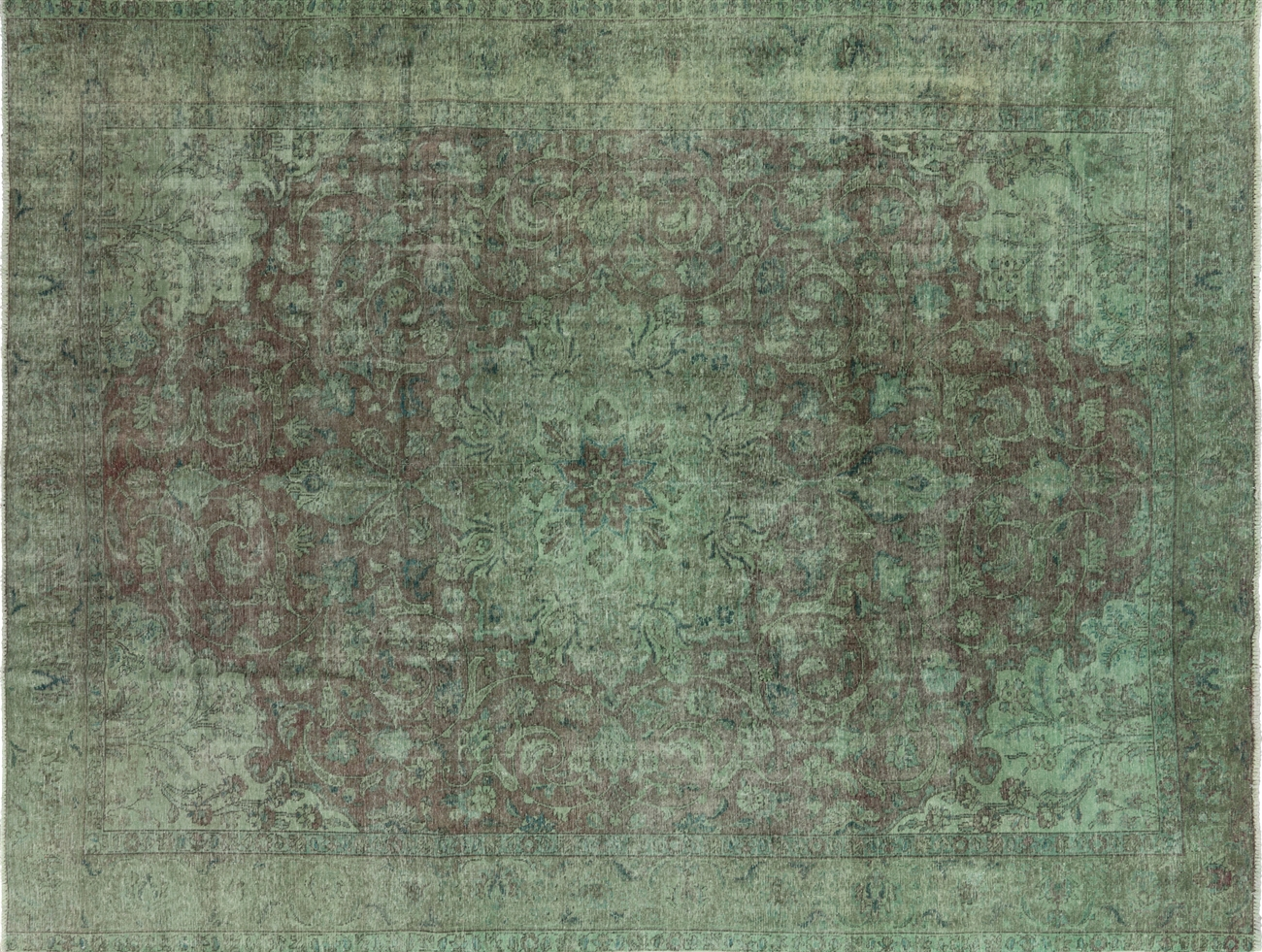 New Traditional Hand Knotted Overdyed 10 X13 Green Wool Area Rug H8990