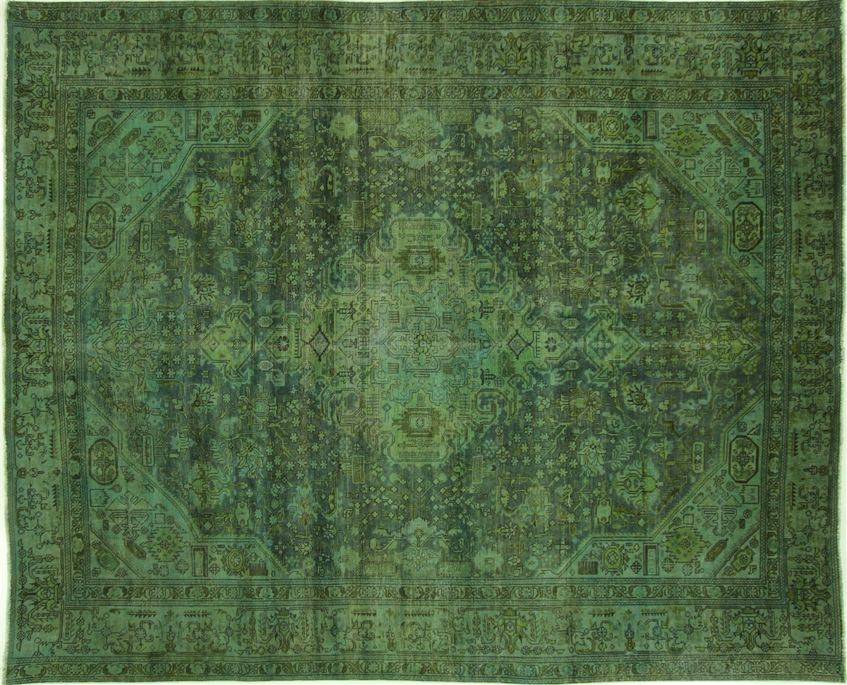 Unique Hand Knotted Overdyed 8x10 Blue Green Oriental Wool