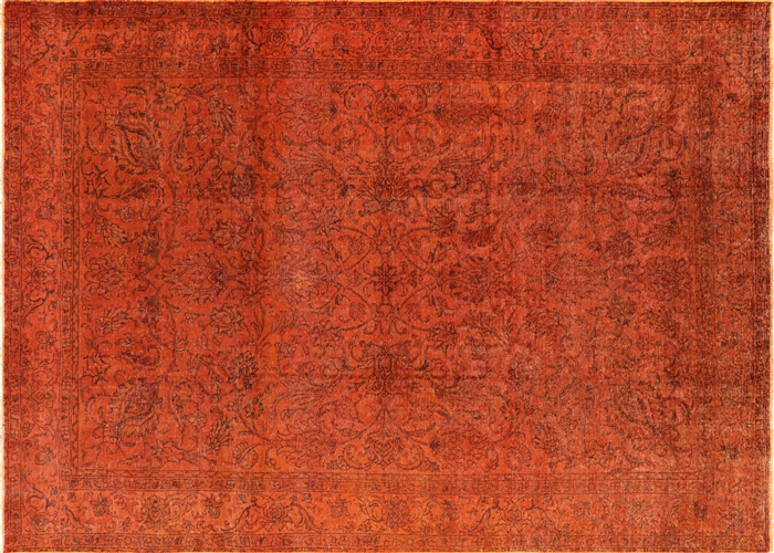 Traditional Vintage Orange Overdyed 8x12 Hand Knotted