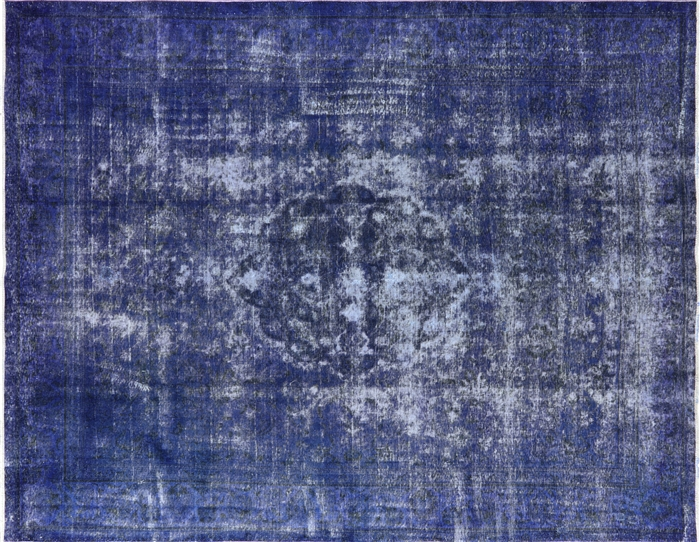 Traditional Hand Knotted Overdyed 10 X13 Blue Oriental
