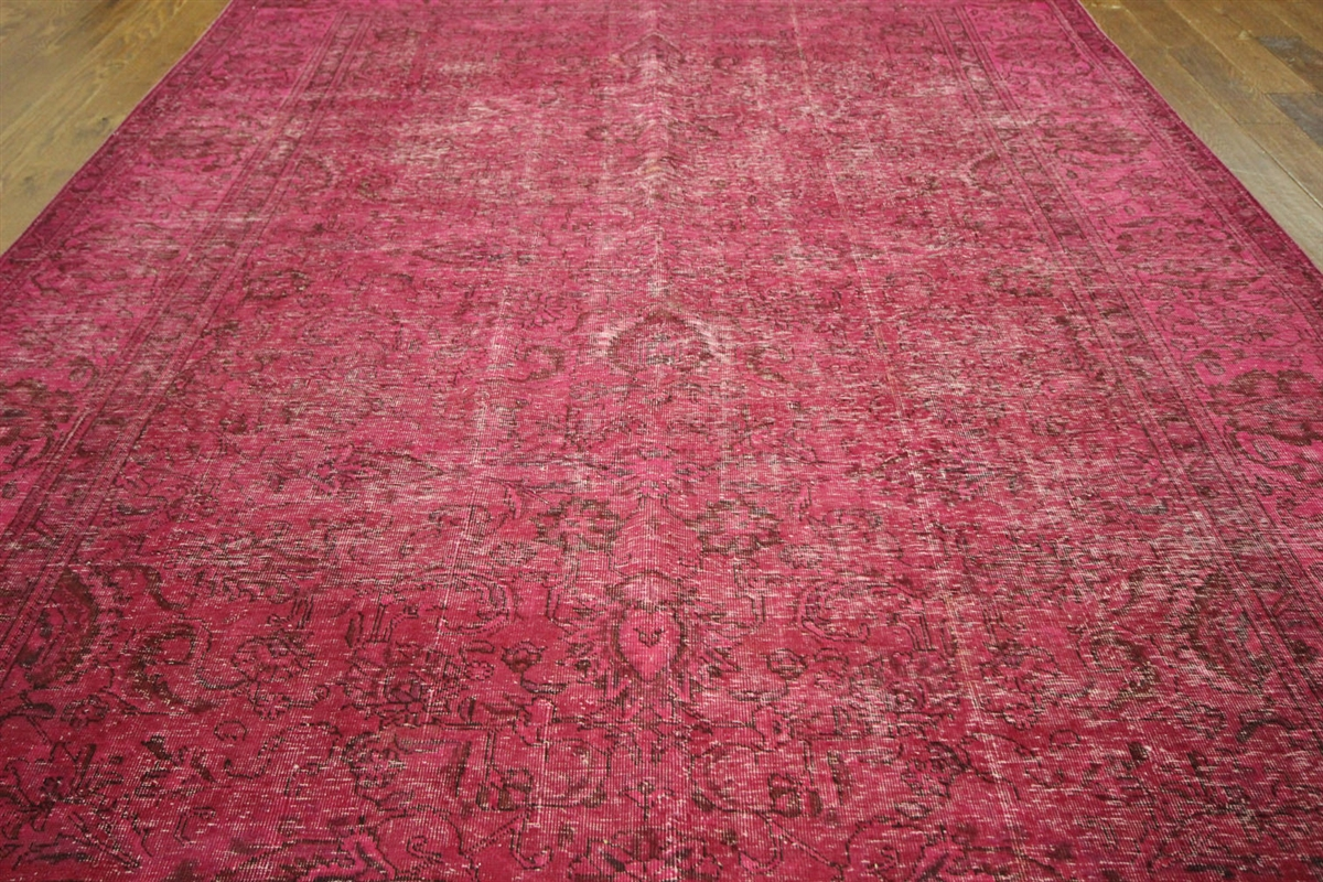 Vintage 8u0027x12u0027 Pink Overdyed Oriental Wool Hand Knotted Floral Area Rug  H9028