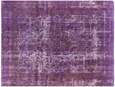 Purple Overdyed Floral Hand Knotted Wool Area Rug