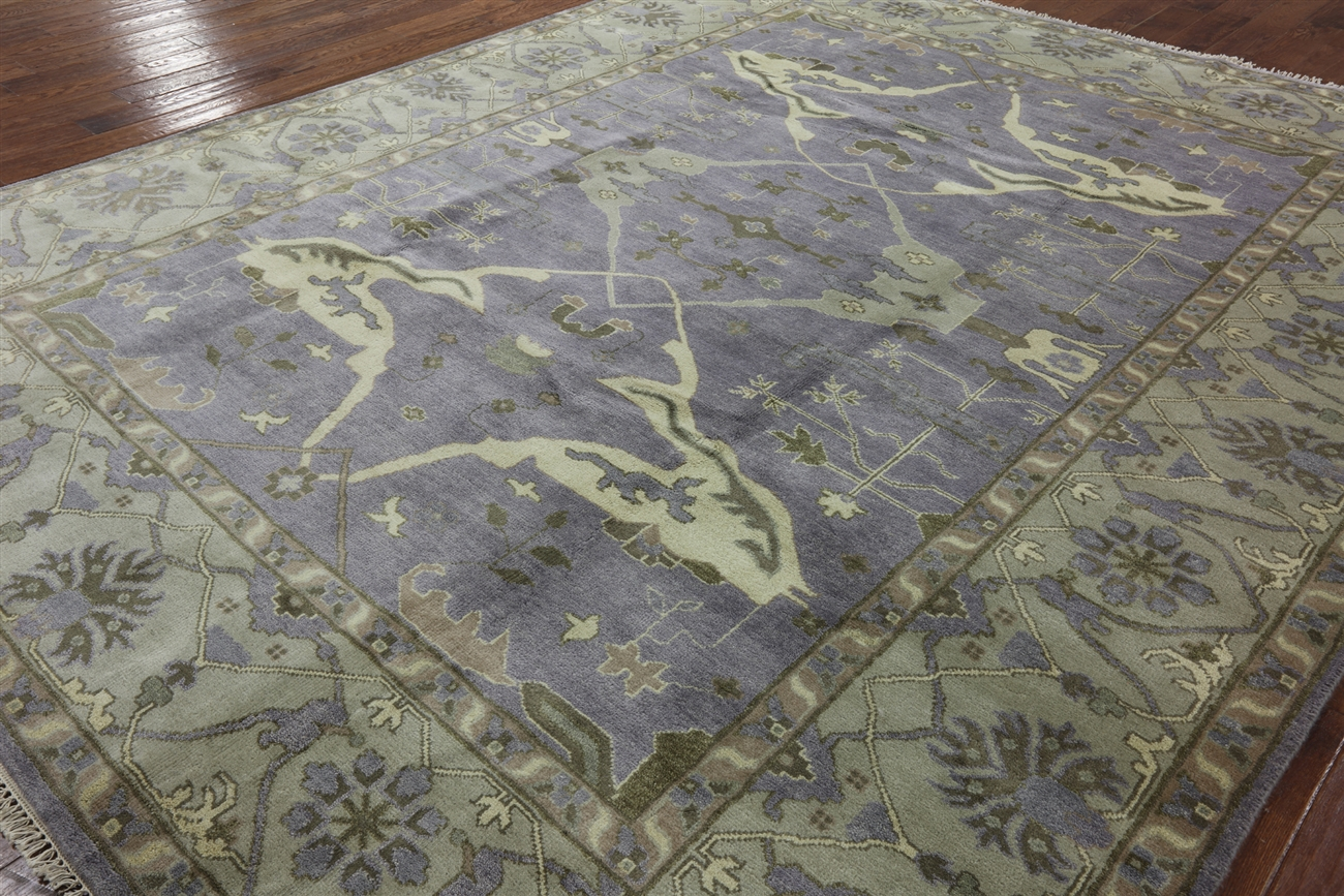 unique handmade purple oushak hand knotted oriental wool area rug h9195