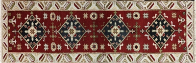 Indian Kazak Hand Knotted Runner Rug