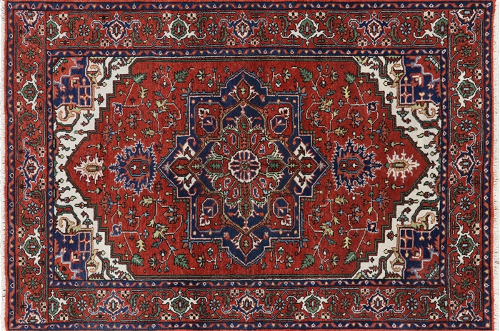 Medallion Collection 6x9 Red Heriz Serapi Hand Knotted