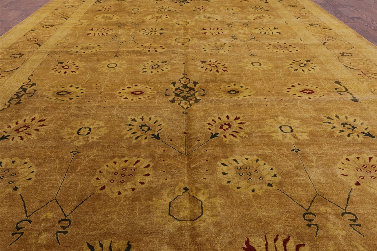 Oushak Collection Handmade Oriental 12x18 Hand Knotted Ivory Wool Area Rug H9375