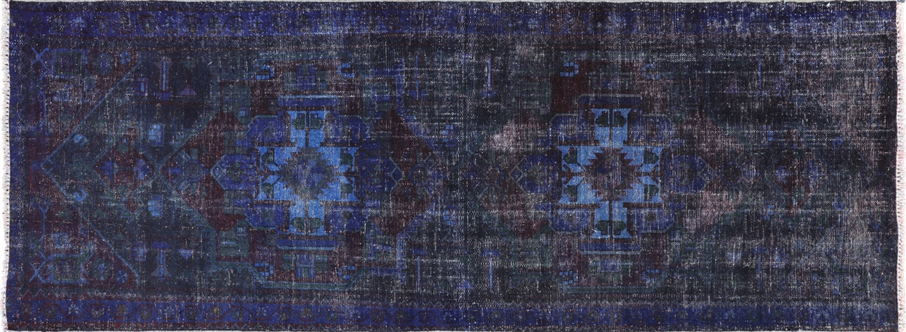 Oriental Floral Blue Overdyed Hand Knotted Wool Runner Rug