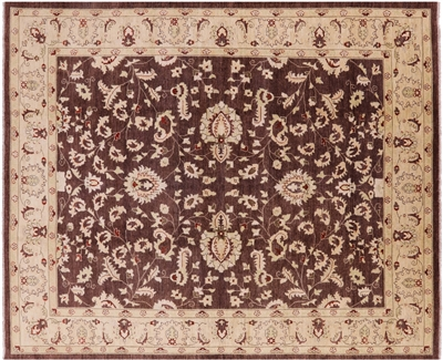 Brown Persian Tabriz Hand Knotted Wool Area Rug