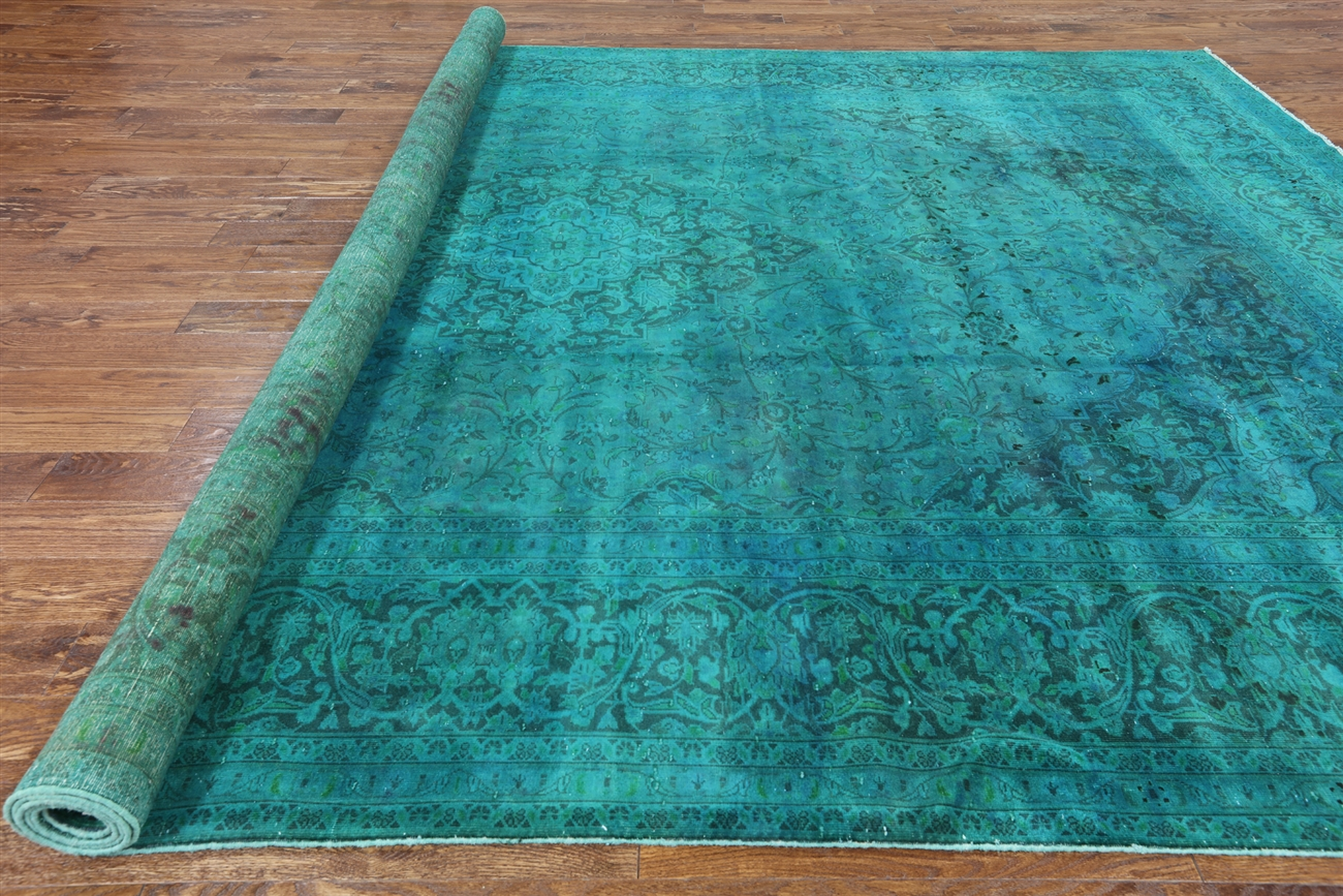 Oriental 10x13 Teal Blue Overdyed Floral Hand Knotted