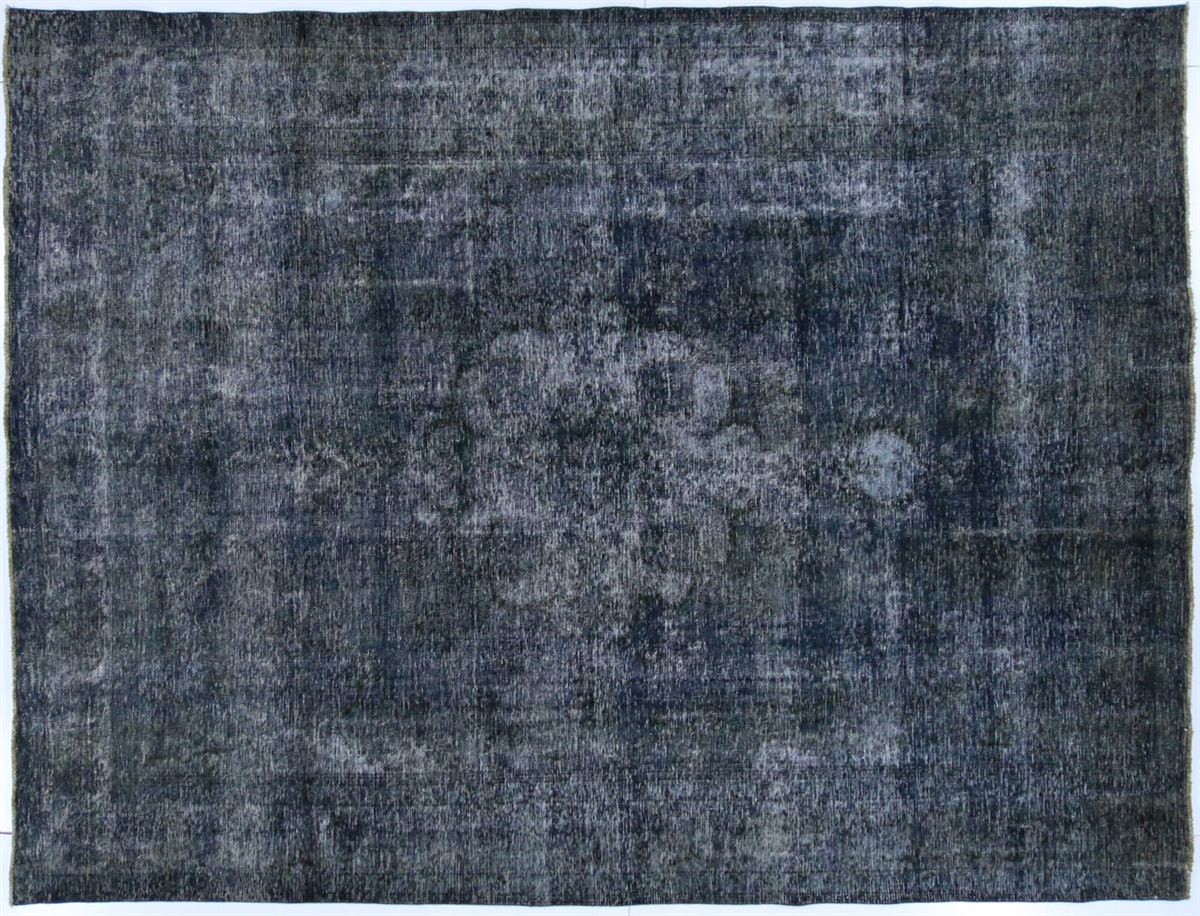 Vintage Collection Oriental Overdyed Blue Hand Knotted Wool Area Rug