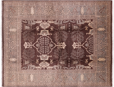 Oushak Collection Oriental Peshawar Chobi Brown Hand Knotted Wool Rug
