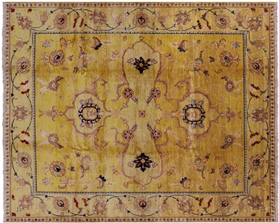 Golden Wash Signed Peshawari Chobi Hand Knotted Wool Area Rug