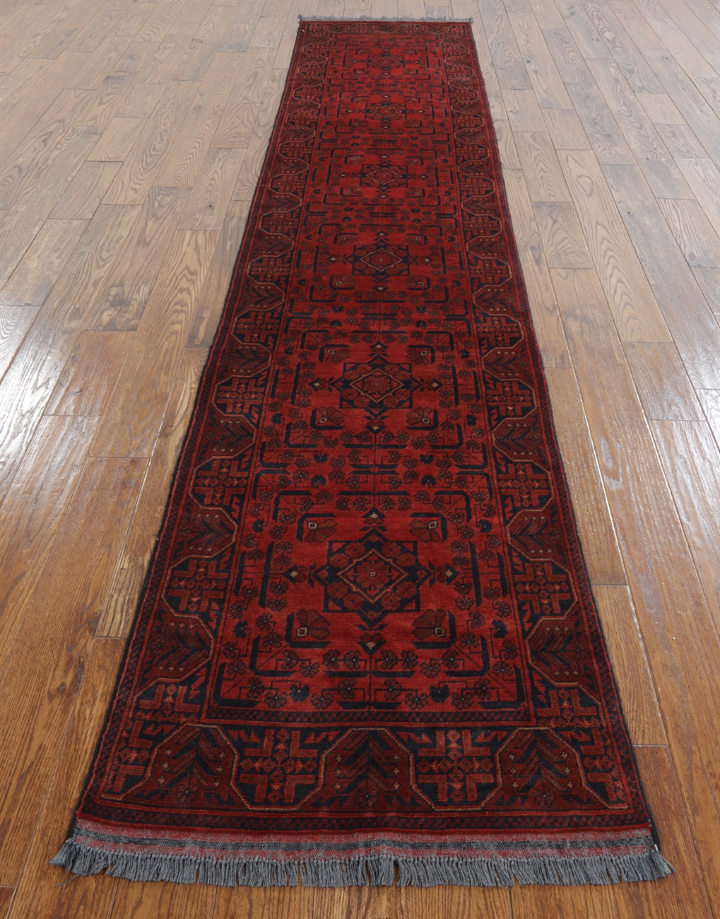 Dark Red 3 X13 Bokhara Runner Hand Knotted Wool Rug H9636