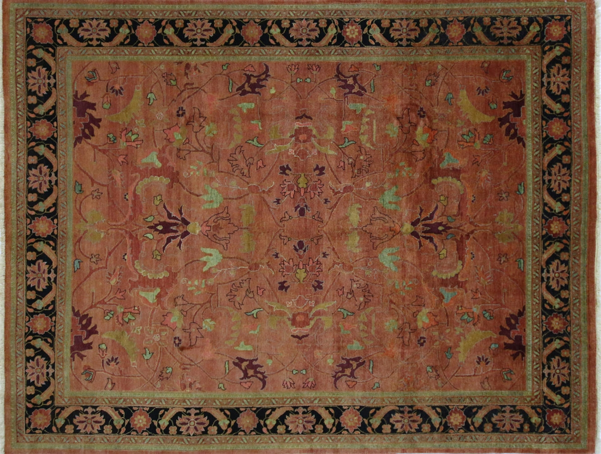 Perfect Coral/Black Oushak Style Hand Knotted Wool Rug