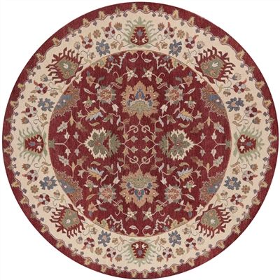 Hand Knotted Red & Ivory Round Handmade Wool Rug