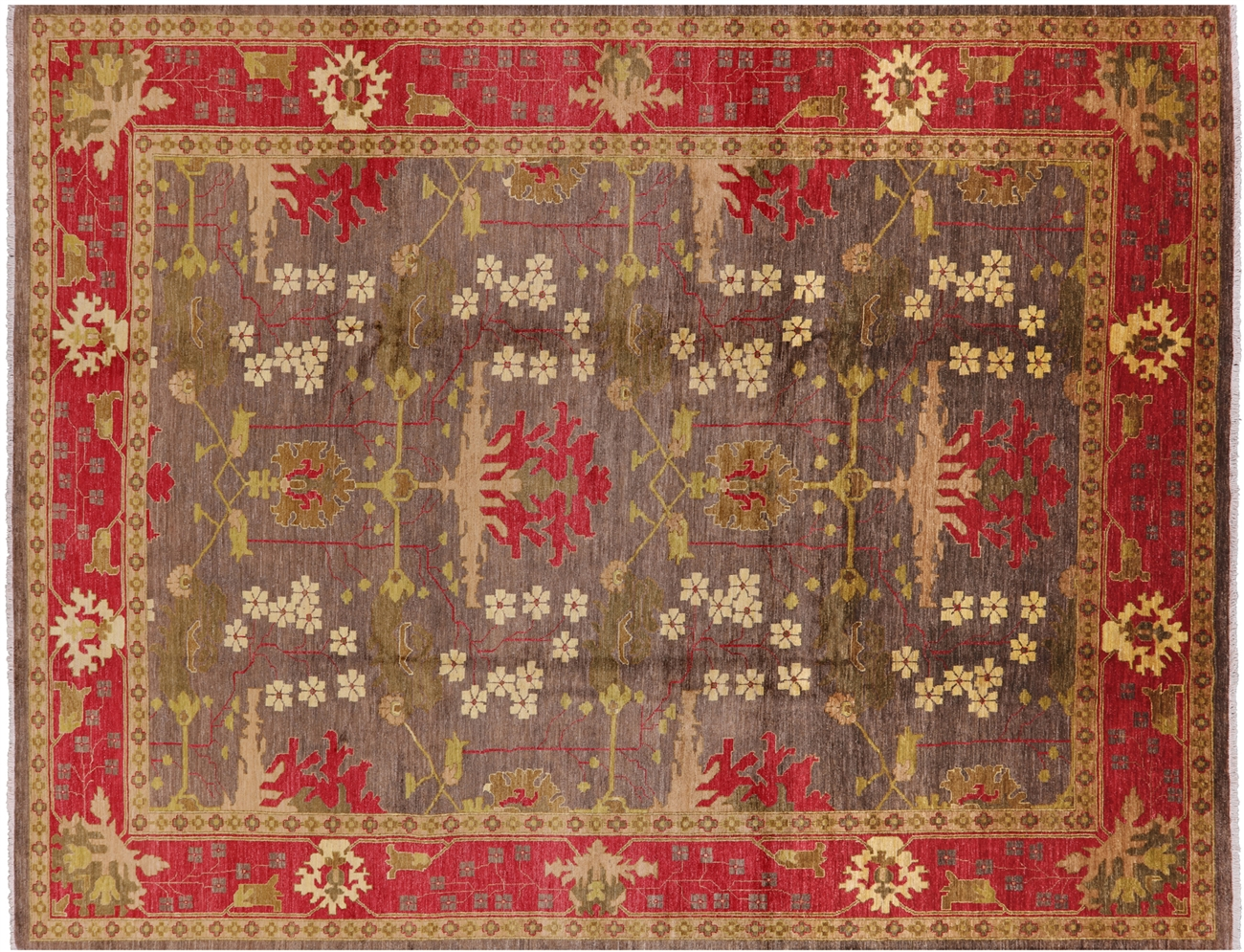 Oriental Hand Knotted William Morris Area Rug 9 X 12