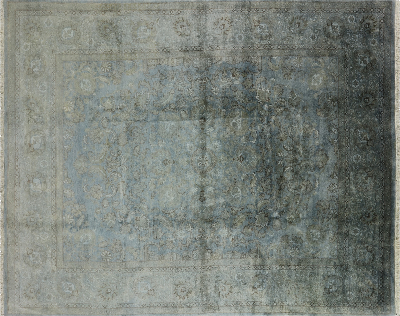 Blue Overdyed Persian Hand Knotted Wool Rug