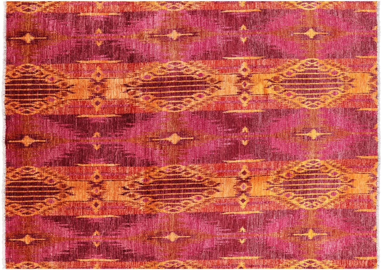 New Hand Knotted Geometric Orange/Pink Modern Ikat 9x12 Oriental Wool Rug  MC141