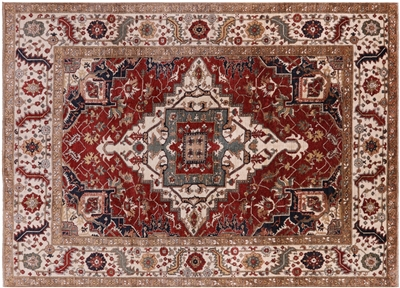 Antiqued Fine Serapi Hand Knotted Wool Area Rug