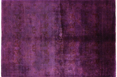 Overdyed Purple Hand Knotted Peshawar Wool Rug
