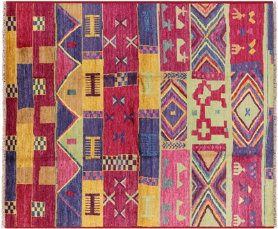 Hand Knotted Southwest Navajo Design Oriental Wool Rug